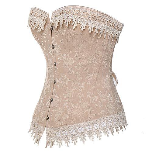 DHDHWL Bequemes Atmungsaktives Korsett,Frauen Floral Waist Trainer Korsett Lace Up Dessous Plus Size Shapewear Korsetts Und Bustiers @ Nude_M -