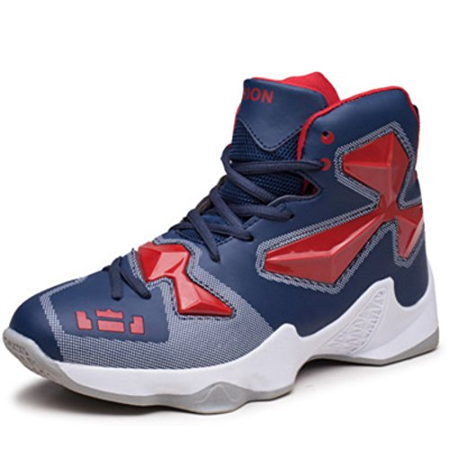 Men's Zapatillas Homme High Tops Breathable Outdoor Basketball Shoes Dark Blue