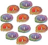 Hathkaam 12 PC Set of Blue Orange Hand Painted Diwali Clay Diya Deepavali Home Door Traditional Temple Pooja D