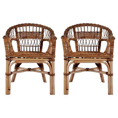 Festnight- Fauteuil en Rotin Lot de 2 Chaises d'extérieur Fauteuil de Jardin Chaise de Jardin résine tressée Naturelle 55 x 59 x 81 cm