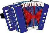 """3318 Fisarmonica """"Blu"""" small foot, promuove la sensazione del ritmo e della musica, strumento musicale con cinghia, a partire da 3 anni di età"""