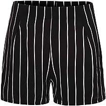 DOGZI Mujer Verano Raya Pantalones Cortos Casual Pantalones de Vestir Elegante Pantalones de Pinza Negocios Palazzo
