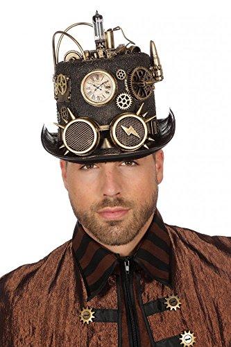 shoperama Schwarzer Steampunk Zylinder mit Bronze-Verzierungen und Goggles Gr. 59 Herren Hut Zahnräder Patronen, Variante:Glühbirne