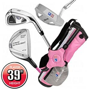 "US Kids UL-39"" Girls Pink 3-Club Golf Package Set 2012 Girls RH Girls RH"