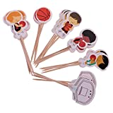 MagiDeal Lot de 24pcs Cake Topper Sport Football/Basket Accessoire Décor Anniversaire Enfant Garçon - Basket Ball