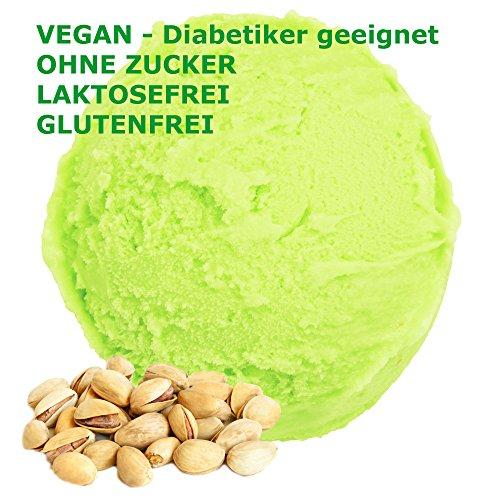 1 Kg Pistazien Geschmack Eispulver VEGAN - OHNE ZUCKER - LAKTOSEFREI - GLUTENFREI - FETTARM, auch für Diabetiker Milcheis Softeispulver Speiseeispulver Gino Gelati