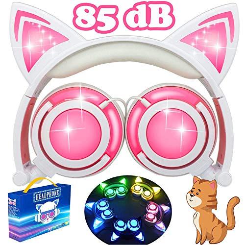 AMENON Kids Cat Ear Cuffie,Auricolari Pieghevoli con Luce a LED Ricaricabile Volume Limitato Cuffie da Gioco Compatibili con Phone Tablet per Ragazze Ragazzi Bambini Regalo di Compleanno di Natale