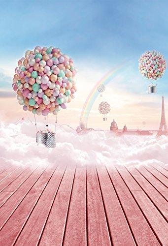 konpon 150x 220cm Baumwolle Polyester Sky Scenery Fotografie Hintergrund waschbar Neugeborene Foto Studios Baby Requisiten Hochzeit Hintergrund Heißluftballon Drop kp-350