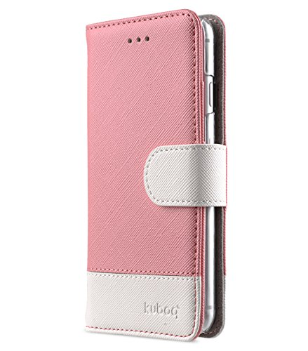 Apple Iphone 7 Melkco Jacka Type Premium Leather Case with Premium Leather Hand Crafted Good Protection,Premium Feel-Red LC Light Pink Cross pattern/White Cross pattern 1