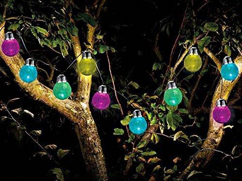 Garten-Meile 10 X Knistern Birnen solar Band Lichter 3,8 m mit Farbe Verändern LED Lichter wasserdicht für draußen Band Lichter Solar betrieben globe Fee Orb Laterne Band Lichter Ambiance Beleuchtung