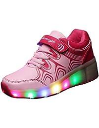 Gaorui Zapatillas Luminous Luz LED Flash Sola Rueda Heely Zapatos Cordones Deporte