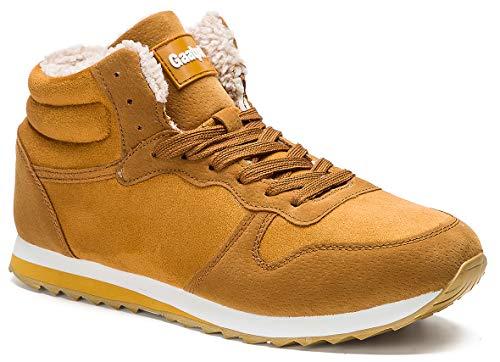 Gaatpot Zapatos Invierno Botas Forradas de Nieve Zapatillas Sneaker Botines Planas para Hombres Mujer Amarillo EU 39 = CN 40