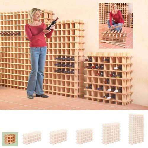 Botellero modular de madera. Apilable. 9 botellas