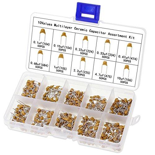 Aussel Keramik Kondensator Sortiment Box Kit Reichweite 0.1uf-10uf 10 Wert 500 Stück (Keramik-keramik-kit)
