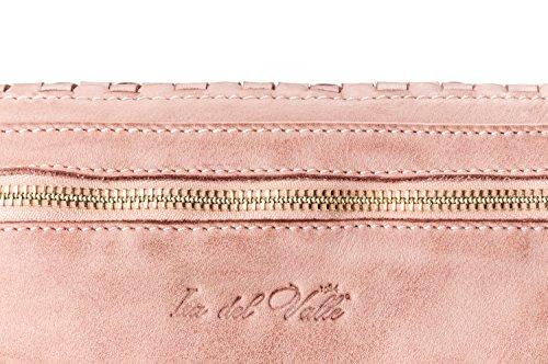 Ira del Valle, Borsa Donna, In Vera Pelle, Vintage, Modello Chicago, Made in Italy rosa antico