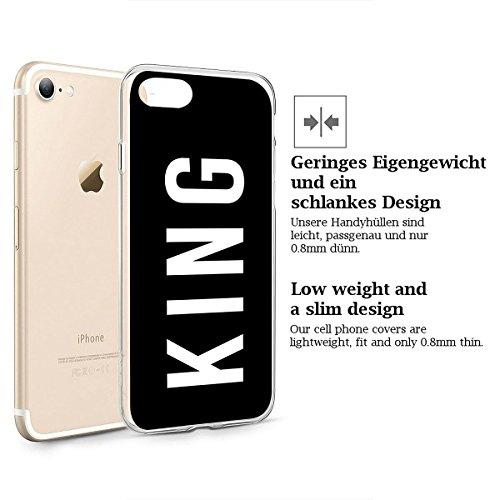 finoo | iPhone 8 Weiche flexible Silikon-Handy-Hülle | Transparente TPU Cover Schale mit Motiv | Tasche Case Etui mit Ultra Slim Rundum-schutz | Tattoo girl blond King