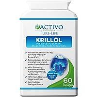 Reines Krillöl, Super Omega 3 unterstützt die Gesundheit von Herz, Gehirn, Gelenken, Gedächtnis, Konzentration, Energie, Stimmung - mit den Vitaminen E A D zum größtmöglichen Nutzen