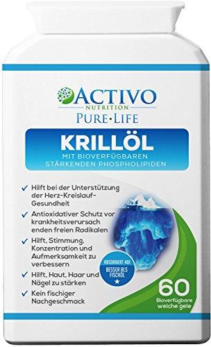 Reines Krillöl, Super Omega 3 unterstützt die Gesundheit von Herz, Gehirn, Gelenken, Gedächtnis, Konzentration, Energie, Stimmung - mit den Vitaminen E A D zum größtmöglichen Nutzen (Herz-gesundheit Krill öl)