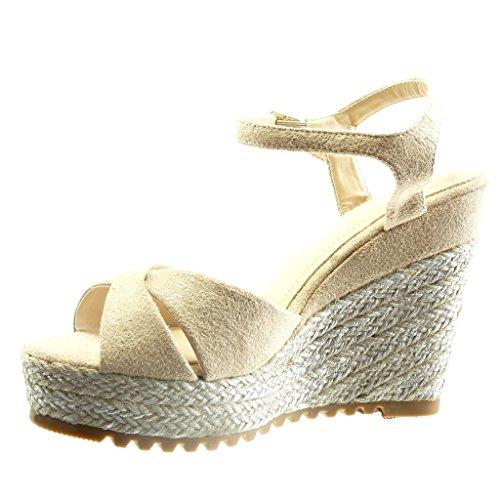 Angkorly Chaussure Mode Sandale Espadrille plateforme femme corde Talon compensé plateforme 11.5 CM Beige