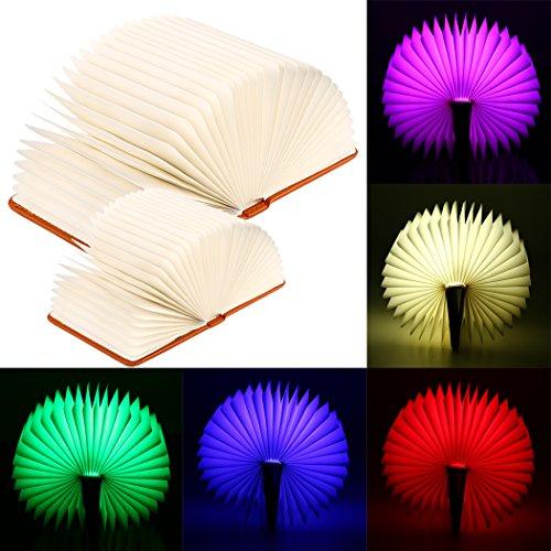 8.5 Leder (LED Buchlampe, 360° Faltbare Stimmungsbeleuchtung Nachttischlampe Tischleuchte 2,500 mAh Multi-Farben mit USB-Kabel (L (8.5'' X 6.3'' X 1'')))