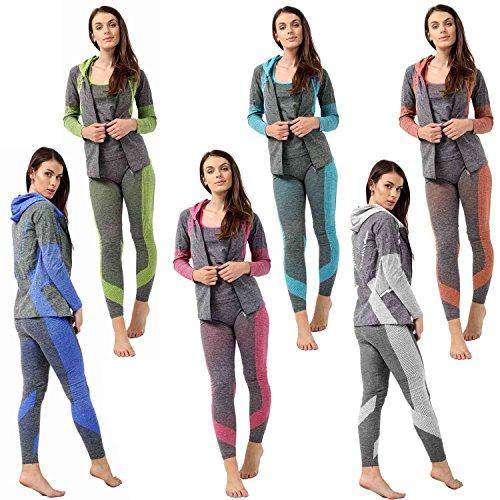 3PC Ladies Gym Suit Hooded TOP, Vest, Legging, Sport Yoga Workout Fitness WEAR