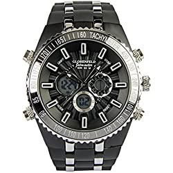 Globenfeld Jetmaster Men's Sports Watch - Rugged, Durable Design for the Modern Man with Jet Black Metal Case, Silicone Rubber Wrist Band, and 5 Year Manufacturer's Warranty