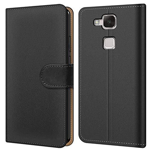 Conie BW9367 Basic Wallet Kompatibel mit Huawei Mate 7, Booklet PU Leder Hülle Tasche mit Kartenfächer und Aufstellfunktion für Mate 7 Case Schwarz (Ascend Mate 7 Case Wallet)