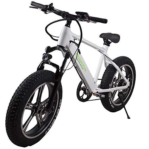 MERRYHE Elektrisches Fahrrad Entfernbares 350W-48V-8Ah Li-Batterie E-Fahrrad Schnee-Fahrrad 20 * 4.0 Gebirgsfahrräder MTB Citybike 6 Niveaus Pas Beschleunigen Intelligentes Radfahren,White-48V8AH