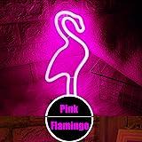 LED-Flamingo-Neonlicht-Zeichen - Nachtlichter Rosa-Glanz-Neonlicht-Wand-Dekor-Batterie und USB-Energie Innenbeleuchtung Nachttisch und Tischlampen für Wohnzimmer, Schlafzimmer, Party, Weihnachten / Geburtstagsgeschenk