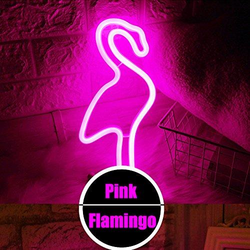 XIYUNTE LED Flamingo néon Light Veilleuses - Rose Signes Lampes Luminaires de néon de signe murale Décoratio,USB et batterie au néon Lampes pour Chambre à coucher, salon, mariage, cadeau de Noël (Rose Flamingo)