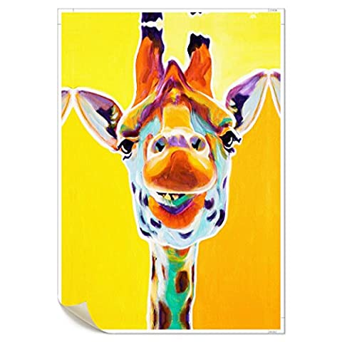 UNIQUEBELLA Colors Giraffe painting printed on Canvas, Art Pictures Poster print painting for Home kids room decoration for Home Decoration (No Frame,unmounted), 1 pc/set 20