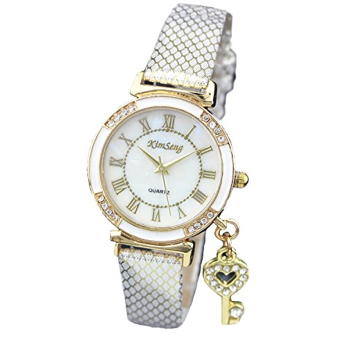 Habors Crystal Key Pendant Watch With White Band (JFBD360WH) (Valentine Gift)