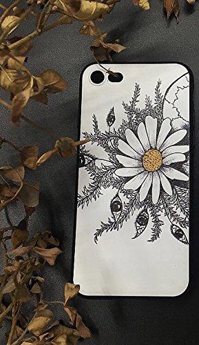 Fall + Tempered Glas/_ Premium Qualität Soft Gel Haut Snap on Cover Passt Apple iPhone 7/8Hand Zeichnen geprägt weiß Daisy und Augen (Box ist Nicht im Lieferumfang Enthalten.) Daisy Faceplates