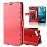 HERCN Oppo AX7,Oppo A7 6.2' Coque,Flip Cas de Luxe PU Étui en Cuir avec Fentes de Cartes,Fermeture Magnétique,Fonction Stand pour Oppo AX7,Oppo A7 Smartphone (Rouge)