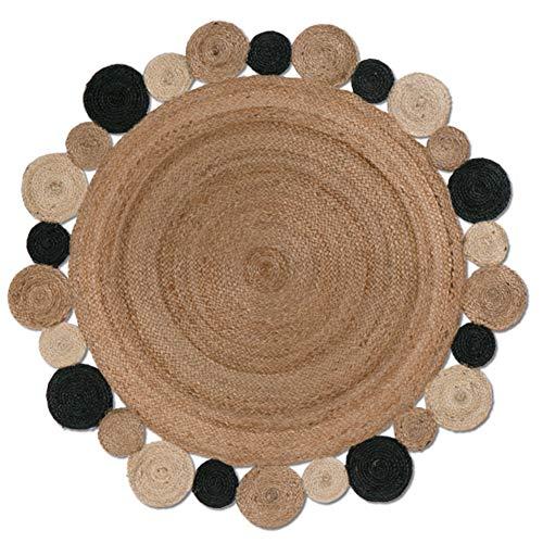 JIAJUAN Runde Teppich Rutschfest Einfach Sauber Natürliche Jute Weben Wohnzimmer Sofa Kaffetisch Kissen, Natürliche Farbe, 120 cm - Saubere Jute-teppich