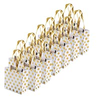 FOGAWA Paper Gift Bags 12 PCS Gold Polka Dot Gift Bags Birthday Party Bags Present Bags with Handles for Weddings Birthday Baby Shower Christmas Keepsake Celebrations 15 x 14 x 7.1cm