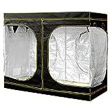 Voilamart Growbox Treibhaus (Größe XL, 240 x 120 x 200 cm, Zwei Belüftungszugänge, Zuluftklappen, Reflektierende Innenbeschichtung, Wasserdichte Bodenwanne) Schwarz