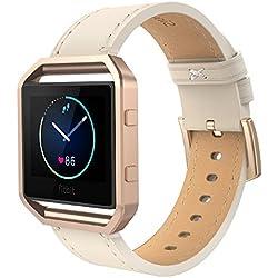 Simpeak Correa Fitbit Blaze (5.5-6.7 Pulgadas), Repuesto de Correa Pequeño con Marco de Metal para Relojes Fitbit Blaze Smart Fitness Watch (Cuero Beige y Metal Marco Oro Rosa, Pequeño)