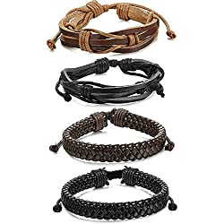 Sailimue 4Peizas Pulseras Cuero para Hombre Mujer Cuerda Trenzado Brazalete, 19-21.5CM Ajustable