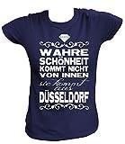 Artdiktat Damen T-Shirt - Wahre Schönheit Kommt Nicht von Innen - Sie Kommt Aus Düsseldorf Größe M, Navy