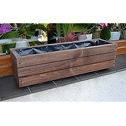 NUEVO Jardinera de acero madera Top Macetero Jardín Terraza montado D6Palisandro