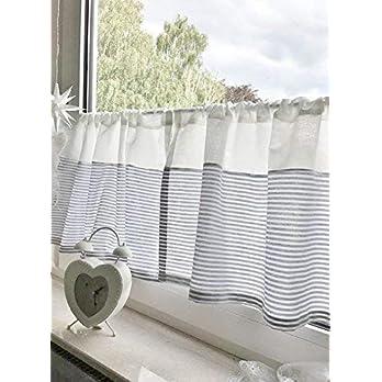Scheibengardine gestreift grau weiß