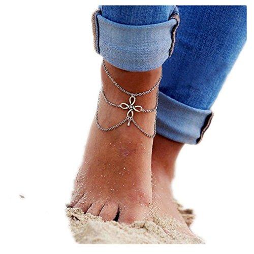 Koly Las mujeres Barefoot Beach Pie Borla Joyería Calcetín