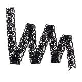 LEORX 5 Yards Spitzenbordüre Spitzenband für Nähen Handwerk DIY-Kleid (schwarz)