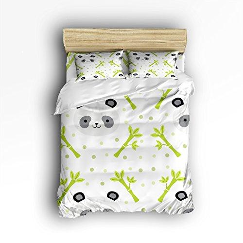 Anzona 4-teiliges Bettwäsche-Set für Kinder/Erwachsene mit süßem Panda- und Bambus-Muster, bequem, weich, leicht, Mikrofaser, Bettwäsche-Set für Kinder und Erwachsene Queen Size Grün/Grau
