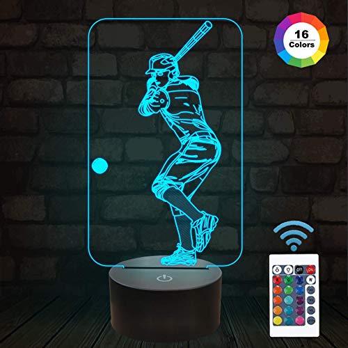 Baseball 3D Nachtlicht, Baseball Sport Geschenke Nachttischlampe für Weihnachten Urlaub Geburtstagsgeschenke für Kinder Baseball Fan mit Fernbedienung 16 Farben Ändern + 4 Ändern Modus + Dim-Funktion