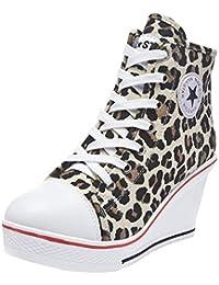 fa86a911f71 Wealsex Mujer Cuñas Zapatos De Lona High-Top Zapatos Casuales Encaje Talla  Grande ...