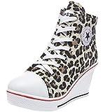 1ef09996b3c Wealsex Mujer Cuñas Zapatos De Lona High-Top Zapatos Casuales Encaje Talla  Grande 35-43 (38 EU