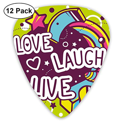 Celluloid Guitar Picks - 12 Pack,Abstract Art Colorful Designs,Cartoon Style Line Art Figures Stars Cubes Circles And Hearts Cheerful,For Bass Electric & Acoustic Guitars. -