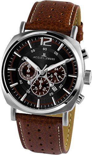 Jacques Lemans Lugano 1-1645C Men's Brown Leather Strap Watch
